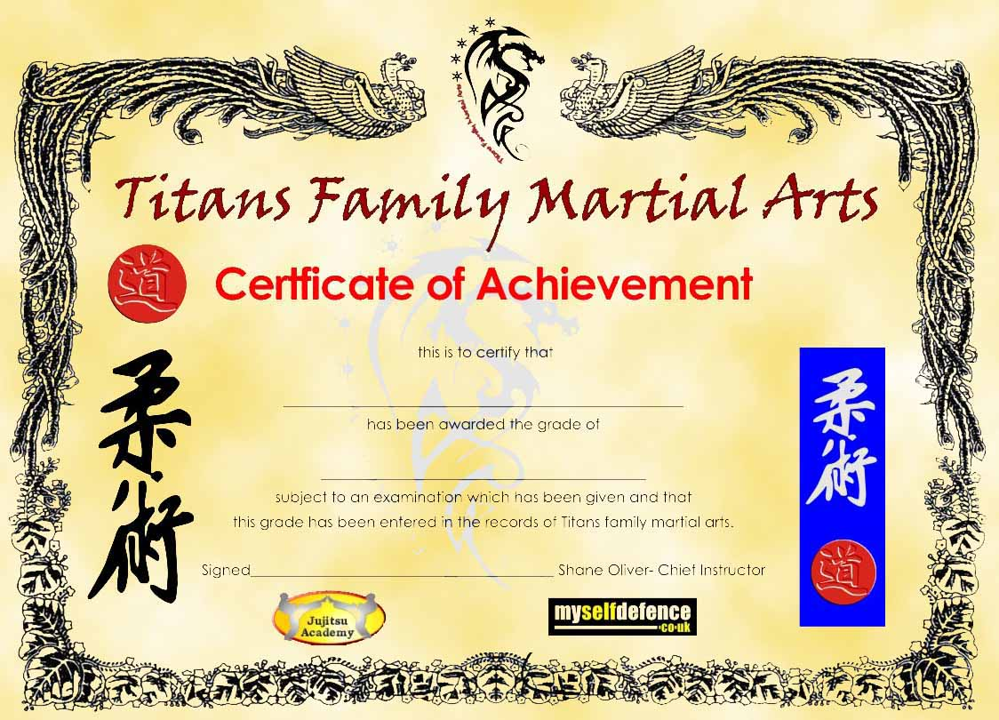 martial arts certificates
